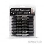 Brush Marker - Winsor & Newton 12er Set, Neutrale Töne