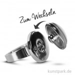 Cabochon Fingerring mit Druckknopf - dm 18mm - Silber