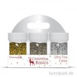 Christmas Basics Glitterpulver, 3 Stück sortiert