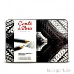 Conte Drawing Set 12 Graphitstifte sortiert im Metallkasten