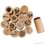 Deco Art Stempel - Blumen und Blätter, Holz, 20 mm, 15 Stück sortiert