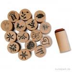 Deco Art Stempel - Weihnachten, Holz, 20 mm, 15 Stück sortiert