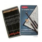 Derwent GRAPHIC Set - Blechetui 12 Bleistifte HART B-9H