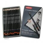 Derwent GRAPHIC Set - Blechetui 12 Bleistifte MEDIUM 6B-4H
