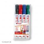 edding 3000 Permanent-Marker Set, Etui mit 4 Farben