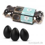 Eier aus Kunststoff, 6 cm, 12 Stück - schwarz