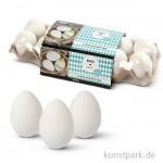 Eier aus Kunststoff, 6 cm, 12 Stück - weiß