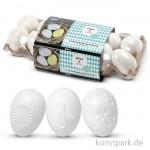 Eier aus Kunststoff mit geprägter Oberfläche, 6 cm, 12 Stück sortiert