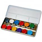 Eulenspiegel 12 Perlglanzfarben Metall-Palette mit 2 Pinsel