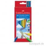 Faber-Castell Buntstift TRIANGULAR JUMBO - 10er Kartonetui mit Spitzer