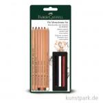 Faber-Castell PITT Monochrome Set, mit 5 Stiften und 3 Kreiden