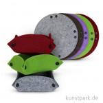 Filzkörbchen, 11,5 cm, 5 Stück, farbig sortiert
