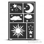 Flexible Designschablone A5 - Sonne, Mond und Sterne - selbstklebend