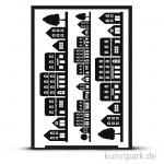 Flexible Designschablone Silhouette A5 - Häuserreihe - selbstklebend