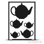 Flexible Designschablone Silhouette A5 - Teekanne - selbstklebend