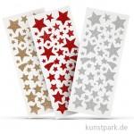 Glitzer-Sticker Sterne, 2 Blatt mit verschiedenen Motiven