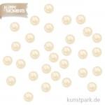 Halbperlen in Perlmuttoptik, 144 Stück, selbstklebend - weiß