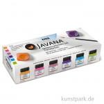 JAVANA Seidenmalfarben-Set - Trendfarben mit 6  x 20 ml und Zubehör