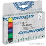 JAVANA Textil Texi Mäx Sunny-Set - 5 Stoffmalstifte, medium
