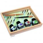 Kalligraphie-Set - Feine Tinte - attraktive Holzbox mit viel Zubehör