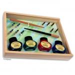 Kalligraphie-Set - Feine Tusche - attraktive Holzbox mit viel Zubehör