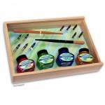 Kalligraphie-Set - Perlmutt Tinte - attraktive Holzbox mit viel Zubehör