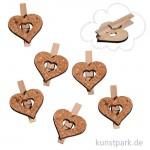 Kork-Herzen auf Holzklammer, 6 Stück sortiert