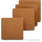 Kork-Untersetzer - quadratisch, 10x10 cm 0,3 cm Dicke, 4 Stück