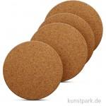 Kork-Untersetzer - rund, 10 cm Durchmesser, 0,3 cm Dicke, 4 Stück