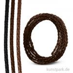 Kunstlederband geflochten 6 mm, 1,5 m