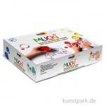 MUCKI Fingerfarbenset - Wir mischen, malen, tupfen, 5 x 50 ml, Zubehör