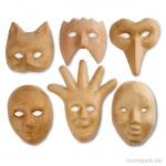 Pappmaché - Masken, Größe 12-21 cm, handgearbeitet, 6 Stück sortiert