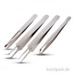 Pinzetten-Set aus Metall, Länge 9-12 cm, 4 Stück sortiert