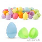 Plastikeier zweiteilig, 4,5 cm, 24 Stück sortiert - pastellfarben