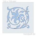 Schablone - Floraler Schnörkel, Größe 110x110 mm