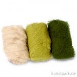 Schafwolle - Grün-Mix, 3x10g sortiert