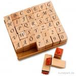 Schaumstoff-Stempel - Alphabet Romantik, Holz, 1,3 cm, 42 Stück sortiert