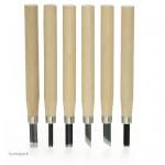 Schnitzwerkzeug Basis-Set, 6 teilig mit Holzgriffen