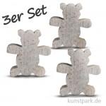 Speckstein Anhänger - Teddybär, 3-er Set