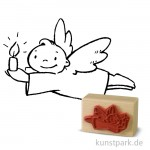 Stempel - Engel mit Kerze - 4x6 cm