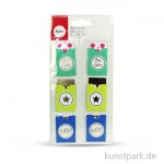 Sticker Tags - For you - Bunt, 3,2 x 5,3 cm, 6 Stück sortiert