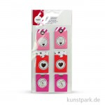 Sticker Tags - Made with love - Bunt, 3,2 x 5,3 cm, 6 Stück sortiert