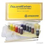Stockmar AQUARELL Geschenk-Holzkassette, 12 Farben + Zubehör
