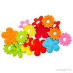 Streudekoration Blumen aus Filz 100% Polyester, bis zu 35x45 mm, 16 Stück sortiert