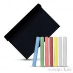 Tafelfolie 45x200cm, schwarz & selbstklebend, inkl. 10 Kreiden