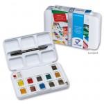 Talens VAN GOGH Aquarellfarbe Pocket Box mit 12 halben Näpfen und Zubehör