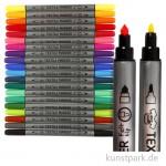Textilmalstifte mit Doppelspitze, 20 Stifte sortiert