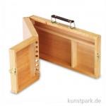 Utensilienkoffer aus Holz, klappbar mit Pinselfächern, groß
