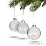 Weihnachtskugel aus Glas - 6 cm, 3 Designs sortiert