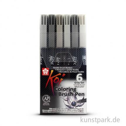 Sakura KOI Coloring Brush Pen Set - 6 verschiedene Farben